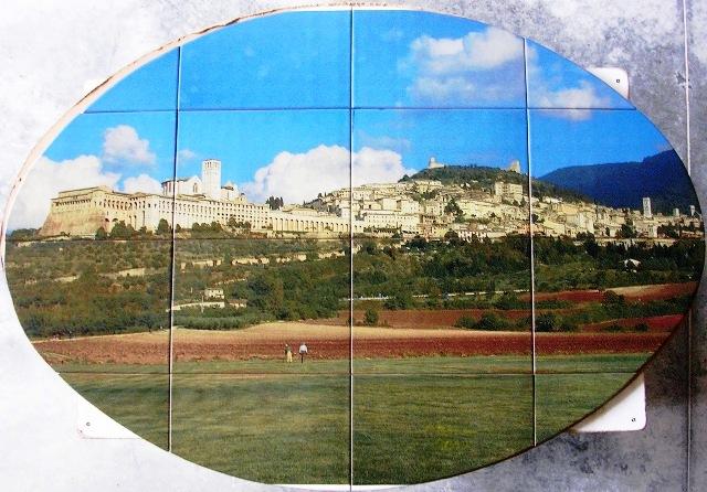 Pannello ovale cm.130x90 in fotoceramica - Assisi